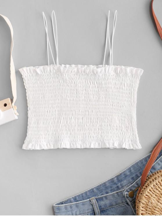 best ZAFUL Strappy Smocked Cropped Cami Top - WHITE L