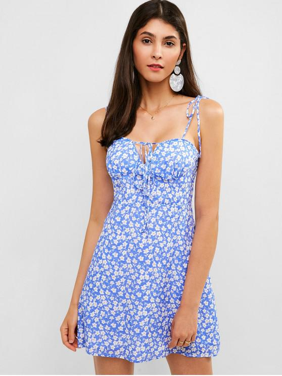 unique ZAFUL Tie Shoulder Floral Cami Summer Dress - SKY BLUE L