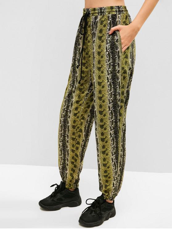 outfits ZAFUL Snake Print Sports Jogger Pants - MULTI S