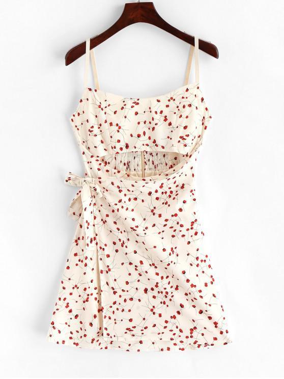 women Smocked Floral Cut Out Mini Dress - WARM WHITE M