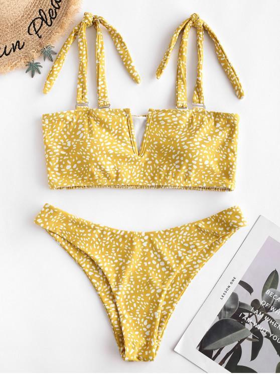 fancy ZAFUL Leopard V-wired Shirred Bandeau Bikini Swimsuit - GOLDEN BROWN M