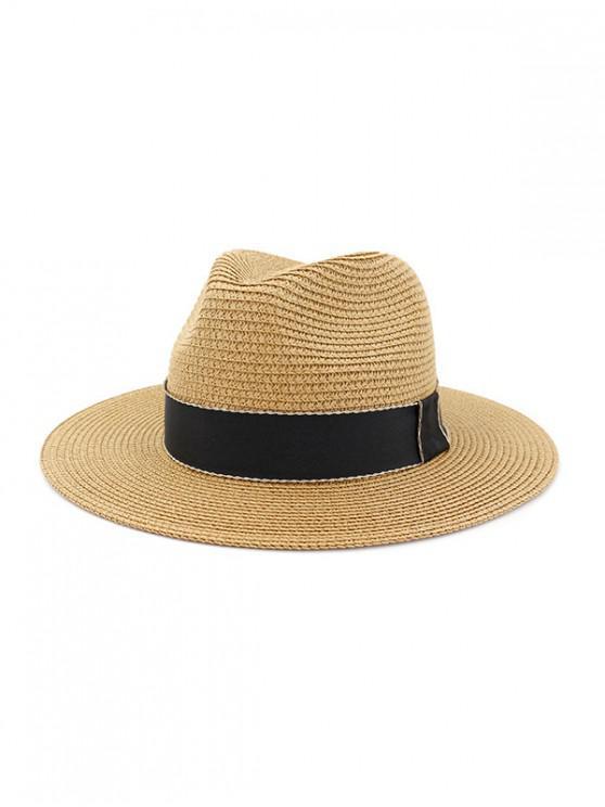 Sombrero de Panamá al aire libre a prueba de sol con cinta - Caqui