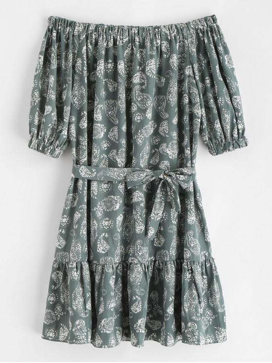 women's Belted Printed Off Shoulder Mini Dress - GREEN XL