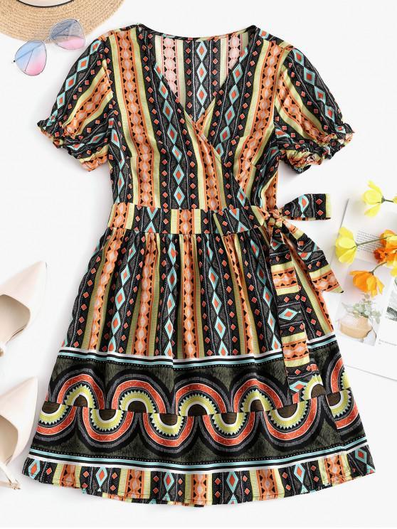 shops ZAFUL V Neck Geometric Print Wrap Dress - MULTI-A M