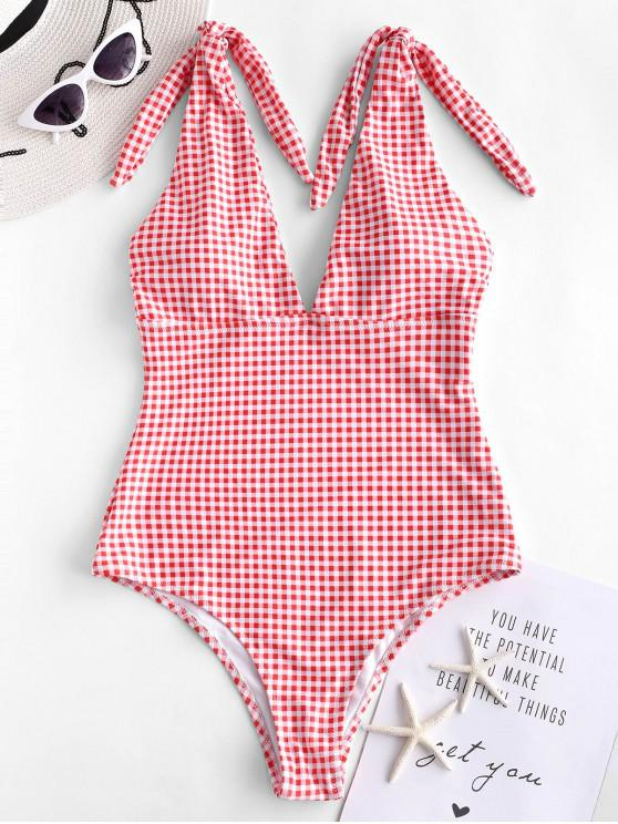 shops ZAFUL Knot Plunge Gingham One-piece Swimsuit - LAVA RED S