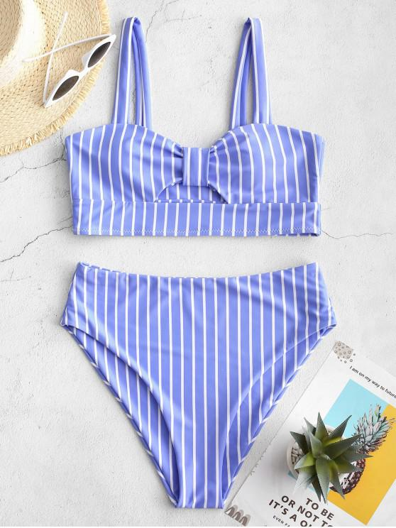online ZAFUL Knot Striped High Waisted Tankini Set - SKY BLUE L