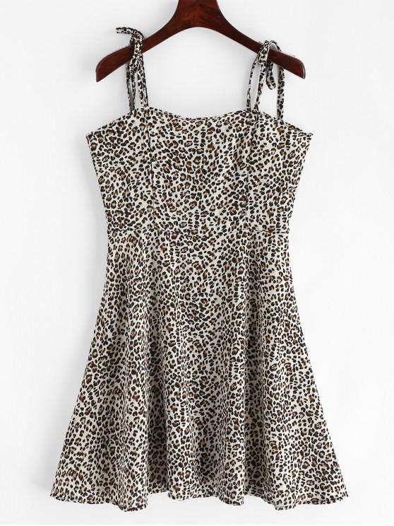 shops Tied Straps Leopard Cami Mini Dress - MULTI S
