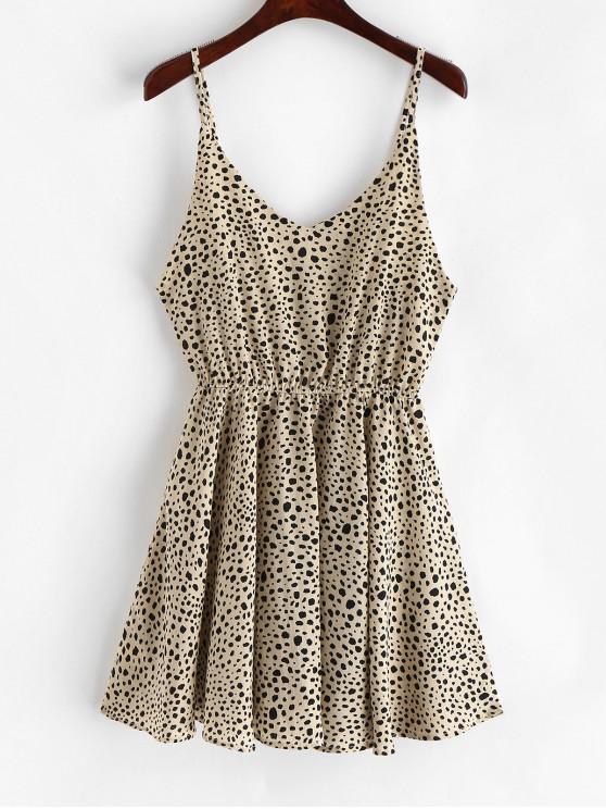 fancy Elastic Waist Printed Cami Mini Dress - MULTI L