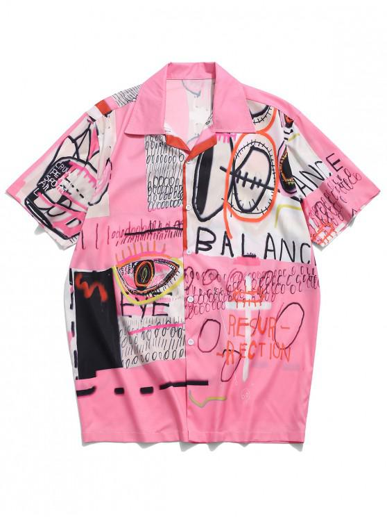 hot Letters Painting Graphic Print Casual Shirt - BLUSH RED L