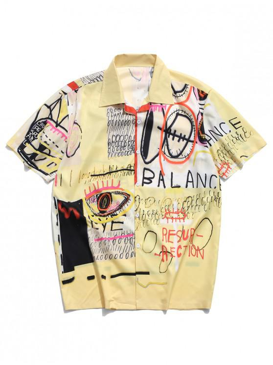 latest Letters Painting Graphic Print Casual Shirt - YELLOW XL
