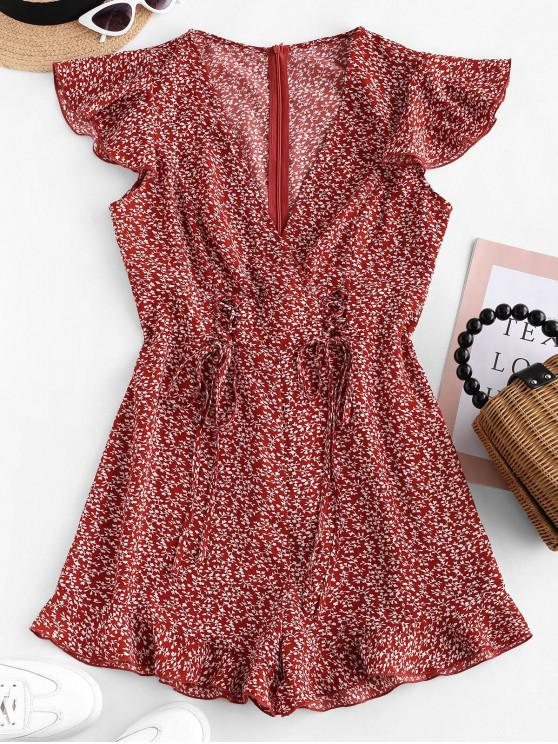 buy ZAFUL Lace Up Tiny Floral Surplice Romper - CHESTNUT RED XL