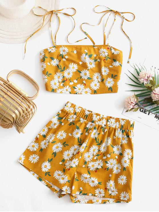 new ZAFUL Daisy Floral Tie Shoulder Cami Top and Shorts Set - ORANGE GOLD M
