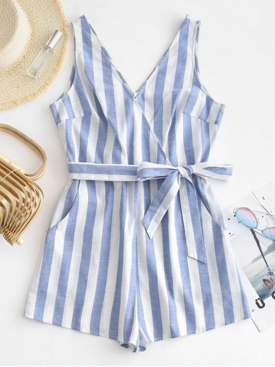 best ZAFUL Striped Plunge Surplice Belted Romper - MULTI-B M