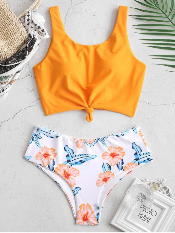 fashion ZAFUL Palm Knotted Mix and Match Tankini Set - MULTI-C XL