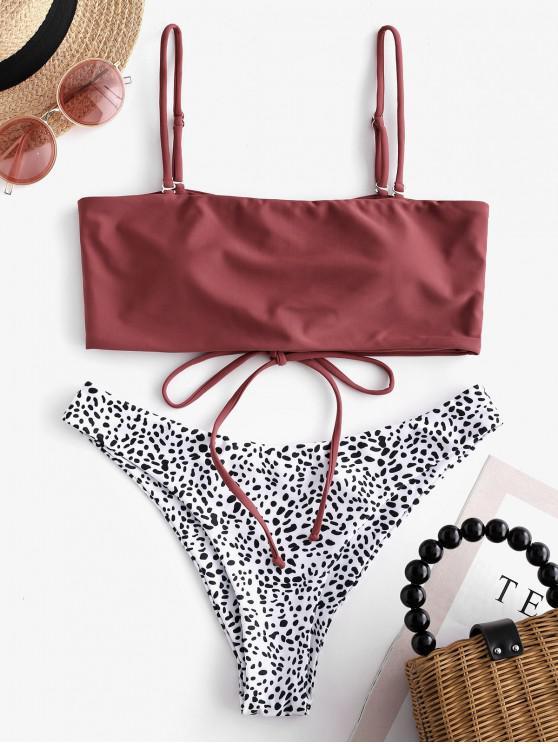 fashion ZAFUL Leopard Lace-up Convertible Bandeau Bikini Swimsuit - CHERRY RED S