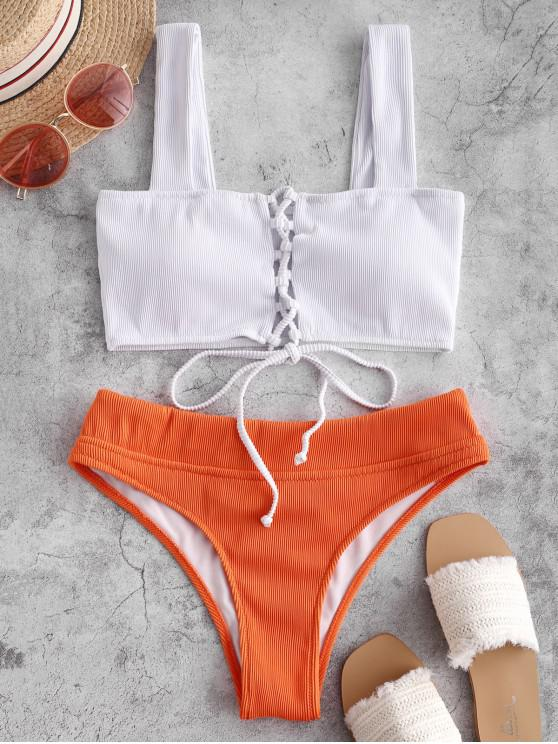 womens ZAFUL Textured Ribbed Lace-up Bikini Swimsuit - WHITE L