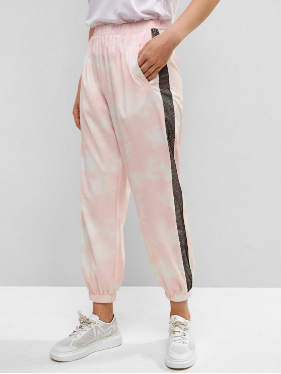 hot ZAFUL Fishnet Insert Tie Dye Pocket Pants - PIG PINK M