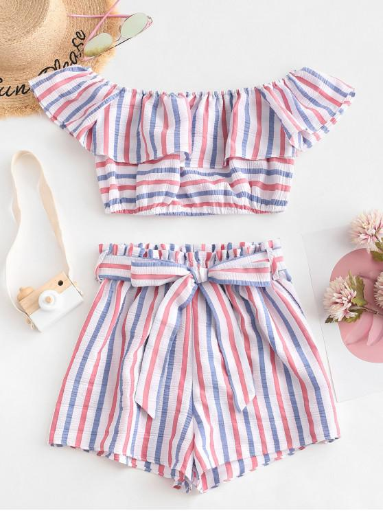 best ZAFUL American Flag Stripes Off Shoulder Two Pieces Set - MULTI S