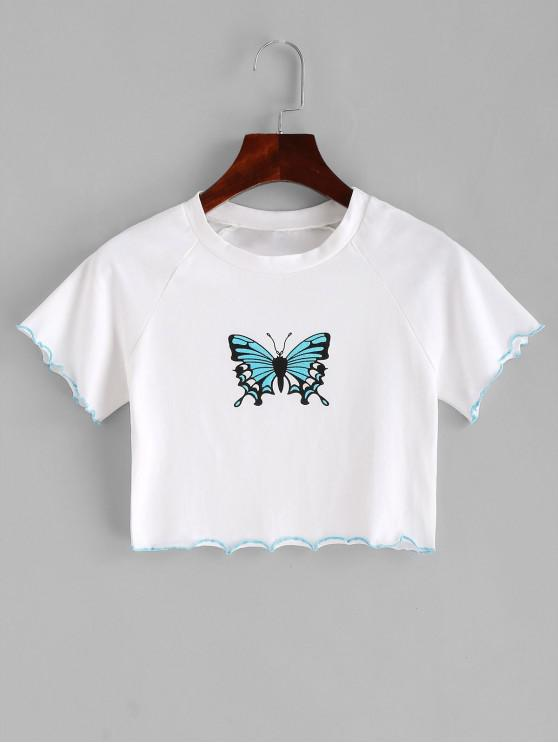 fashion Lettuce Trim Butterfly Crop Tee - WHITE L