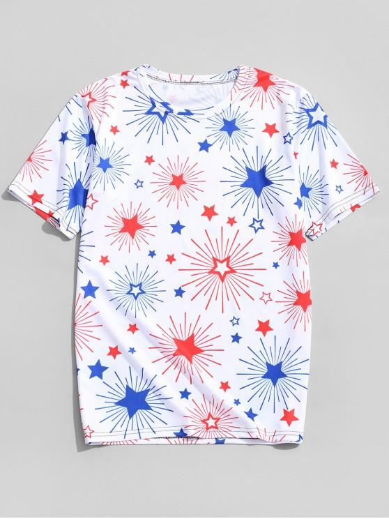 fancy Sparkly Star Allover Print Round Neck T-shirt - WHITE 4XL