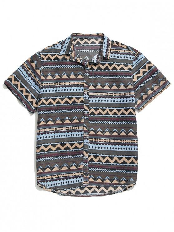 ladies Geometric Graphic Print Button Shirt - MULTI M