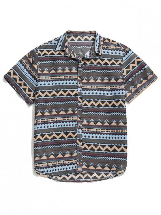 قميص زر طباعة هندسية - متعدد 2XL