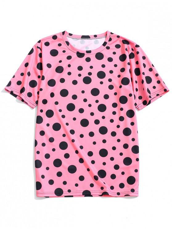 fancy Polka Dots Print Short Sleeves T-shirt - PIG PINK L