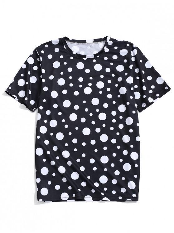 Camiseta de manga corta con estampado de lunares - Negro 4XL