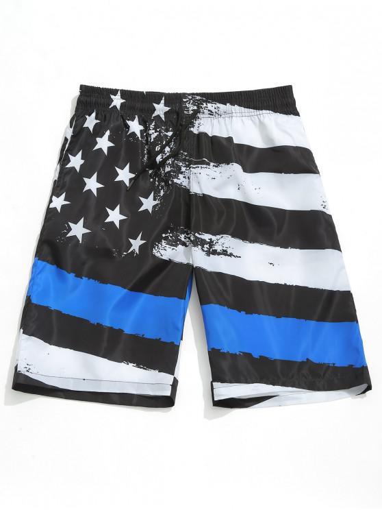 fancy American Flag Print Drawstring Board Shorts - BLACK XL