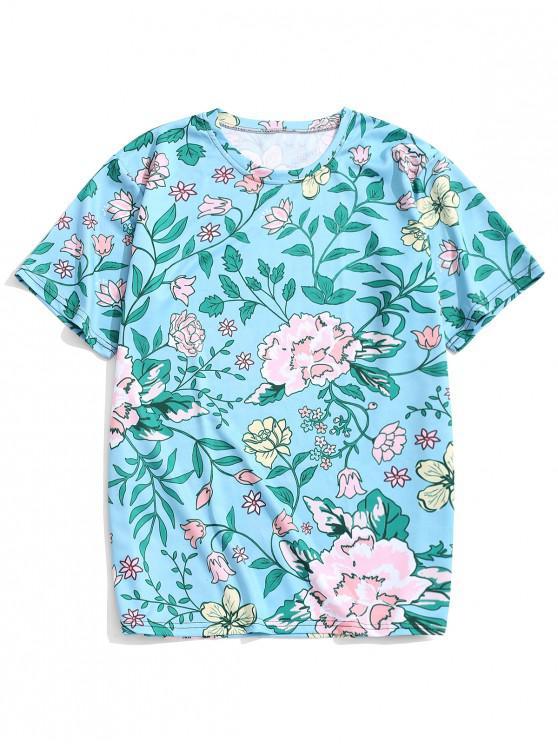 women Flower Allover Print Beach T-shirt - DARK TURQUOISE 2XL