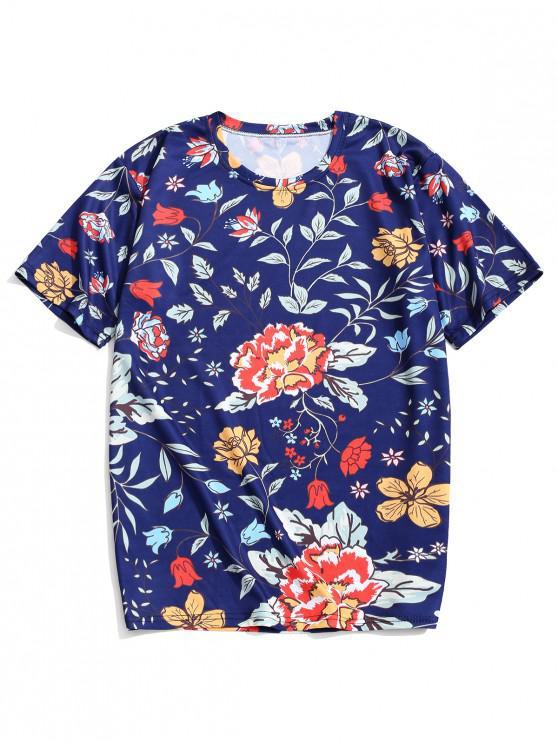 fancy Flower Allover Print Beach T-shirt - CADETBLUE 2XL