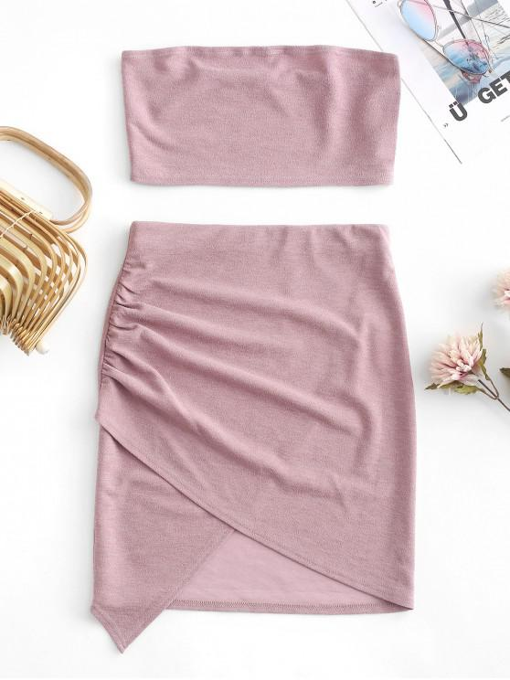 outfits ZAFUL Glitter Strapless Asymmetrical Skirt Set - ROSE S