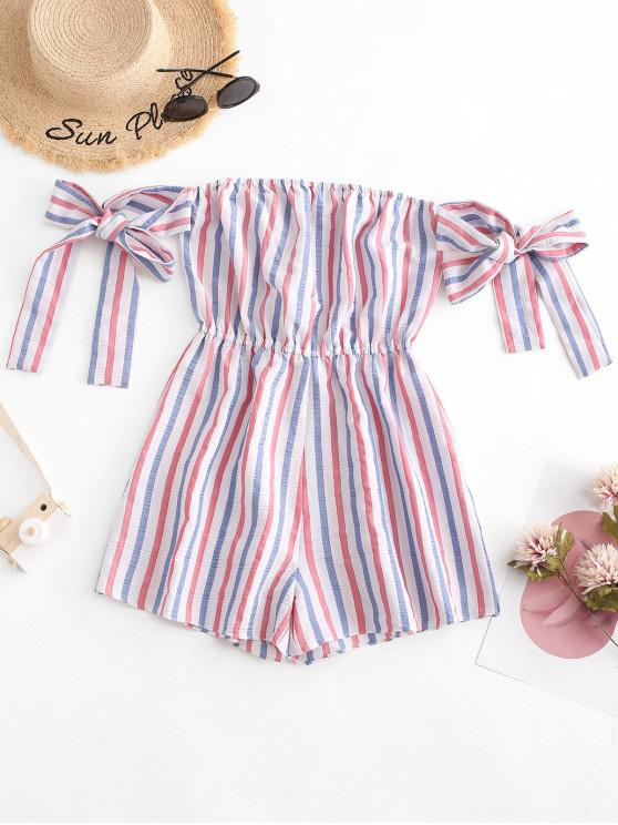 ladies ZAFUL Knotted Stripes Off Shoulder American Flag  Romper - MULTI S