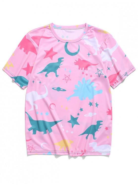 chic Moon Star Planet Dinosaur Print T-shirt - PINK 4XL