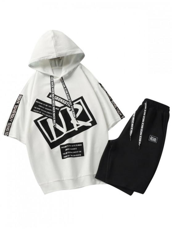 best Letter Graphic Print Hooded T-shirt Shorts Suits - WHITE L