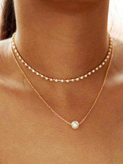 Alloy Faux Pearl Rhinestone Double Layered Necklace - Gold