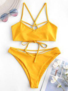 ZAFUL Strappy Crisscross Bralette Bikini Swimsuit - Rubber Ducky Yellow L