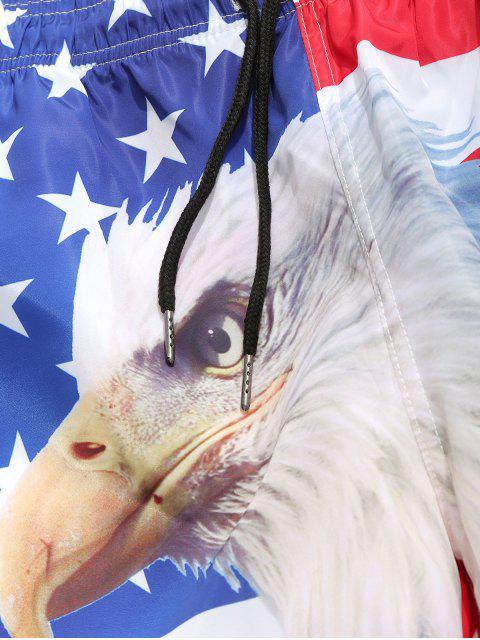 Shorts de tablero de lazo con estampado de águila de American Flag - Blanco M Mobile
