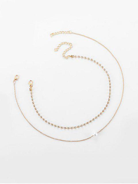 fancy Alloy Faux Pearl Rhinestone Double Layered Necklace - GOLD  Mobile