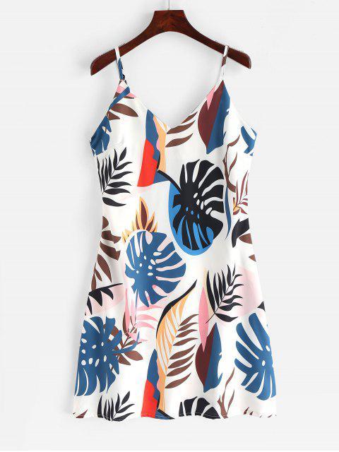 new Cami Leaves Print Mini Dress - MULTI L Mobile