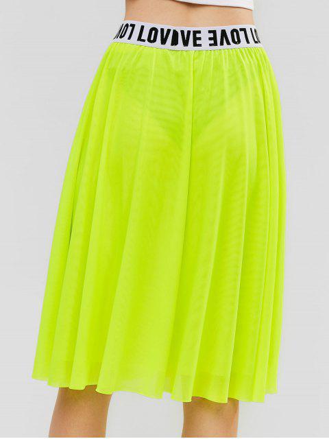 Falda hasta la rodilla de malla de neón ZAFUL A Line - Verde de Pistacho S Mobile