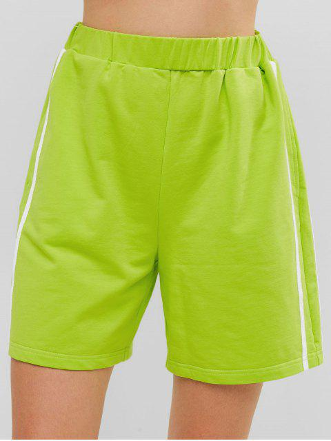 ZAFUL Striped Tape Biker Shorts - Té Verde L Mobile