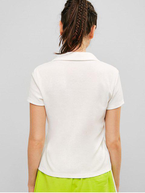 ZAFUL camiseta acanalada medio abotonada sólida - Blanco S Mobile