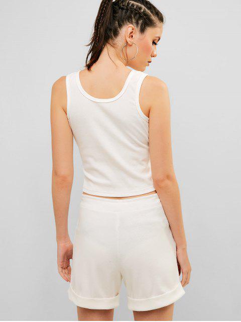 Conjunto de pantalones cortos acanalados con medio botón acanalado - Blanco L Mobile