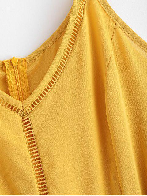 fancy Belted Crochet Trim Cami Romper - YELLOW XL Mobile
