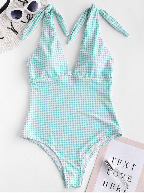 sale ZAFUL Knot Plunge Gingham One-piece Swimsuit - LIGHT AQUAMARINE L Mobile