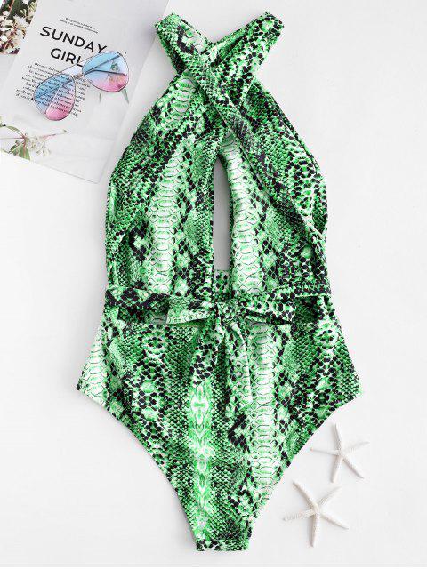 ZAFUL Snakeskin Cross Tie Convertible Bañador de una pieza - Verde Alga M Mobile
