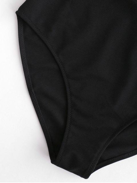 ZAFUL Traje de baño de una pieza con corte de cordones y textura - Negro S Mobile