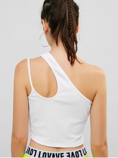 ZAFUL recorte de un hombro camiseta sin mangas acanalada - Blanco S Mobile