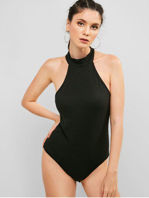 ZAFUL Snap Button en The Gusset Ribbed Body. - Negro M Mobile